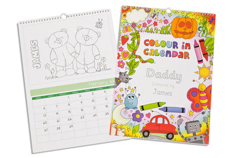 Colour Me In A3 Calendar For a Boy | ShaneToddGifts.co.uk