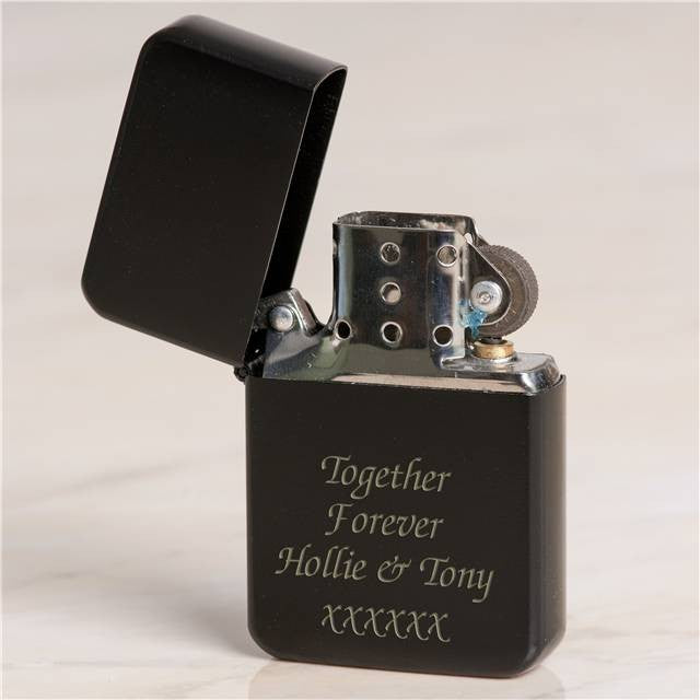 Personalised Black Petrol Lighter, Hardware by Low Cost Gifts
