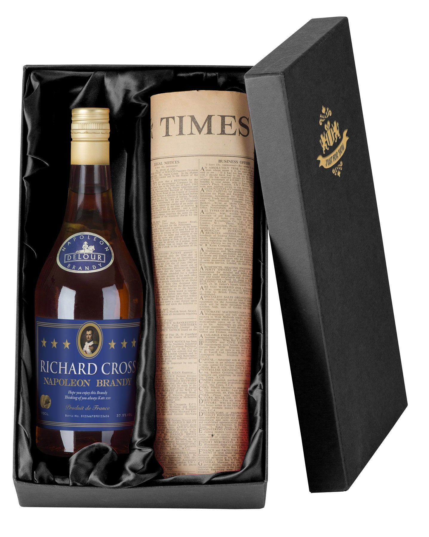 Personalised  Brandy with Newspaper Giftpack, Liquor & Spirits by Low Cost Gifts