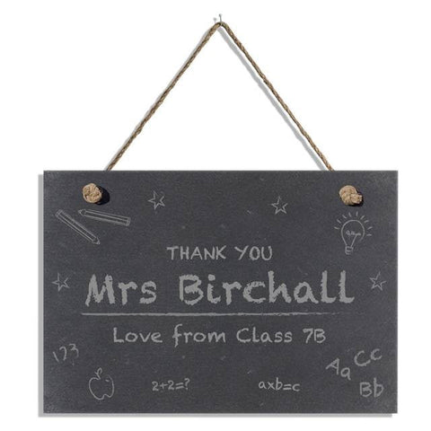 Personalised Chalkboard Classroom Hanging Slate Sign