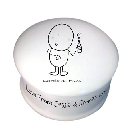 Personalised Chilli & Bubbles Best Dad Trinket Box