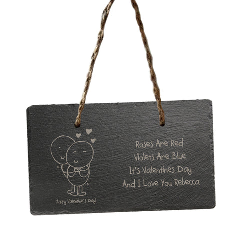 Personalised Chilli and Bubbles Valentine's Day hanging slate sign