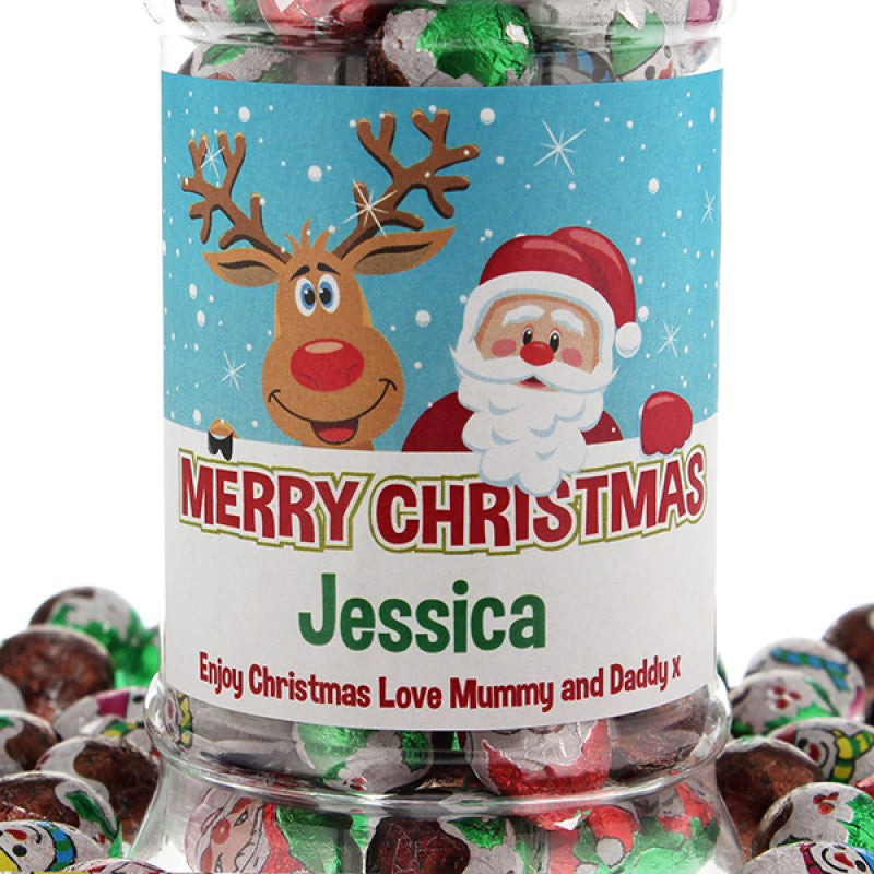 Personalised Christmas Victorian Chocolate Jar, Food Items by Low Cost Gifts