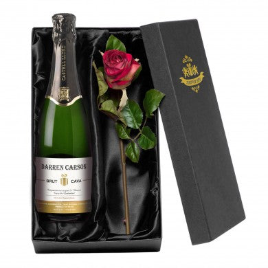 Contemporary Cava with a Rose Giftpack | ShaneToddGifts.co.uk