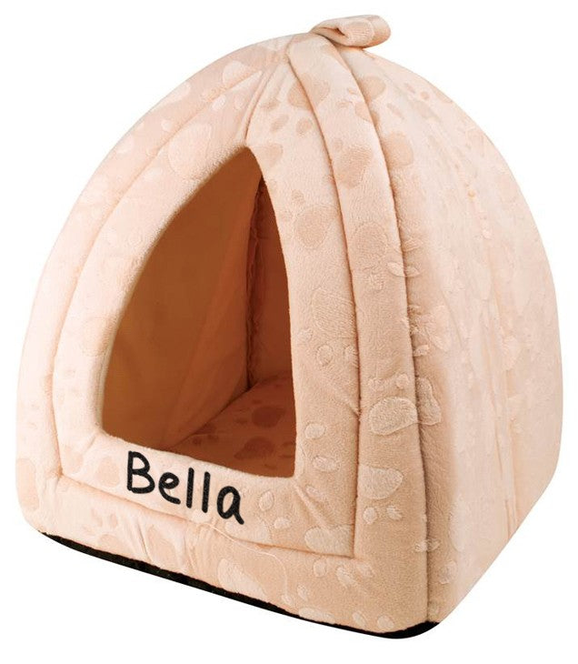 Personalised Cream Pyramid Pet Bed, Pet Bed Accessories by Low Cost Gifts