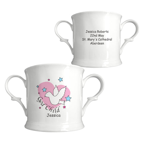 Dove & Hearts Pink Godchild Bone China Loving Cup