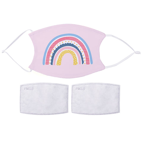 Printed Face Mask - Pink Rainbow Design