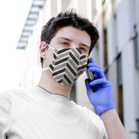 Black Herringbone Pattern Face Mask