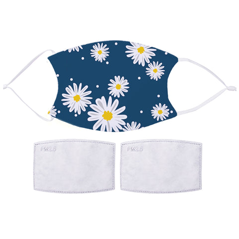 Printed Face Mask - Blue Daisy Pattern Design