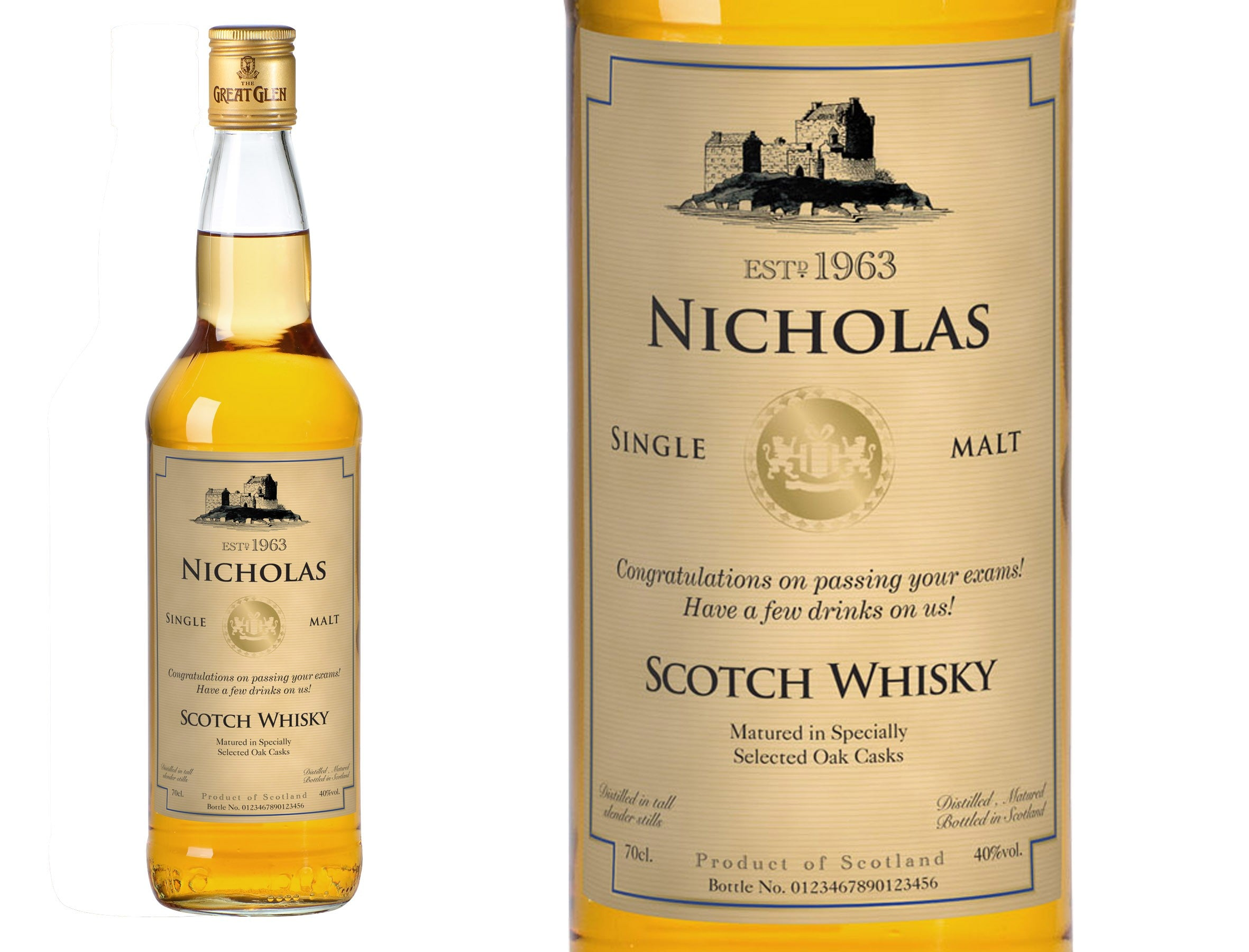 Generic Personalised Single Malt Whisky, Liquor & Spirits by Low Cost Gifts