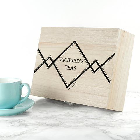 Gentlemen's Teas Personalised Wooden Tea Box - Shane Todd Gifts UK