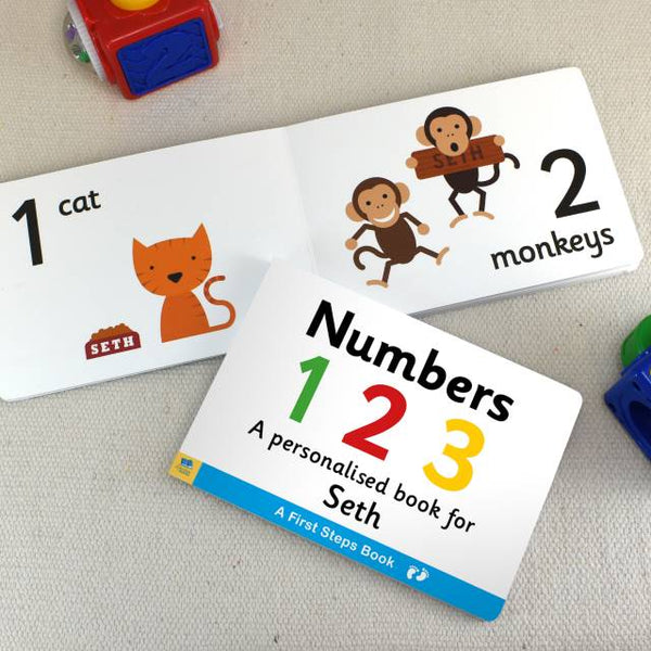 Personalised First Steps Numbers Board Book for Toddlers