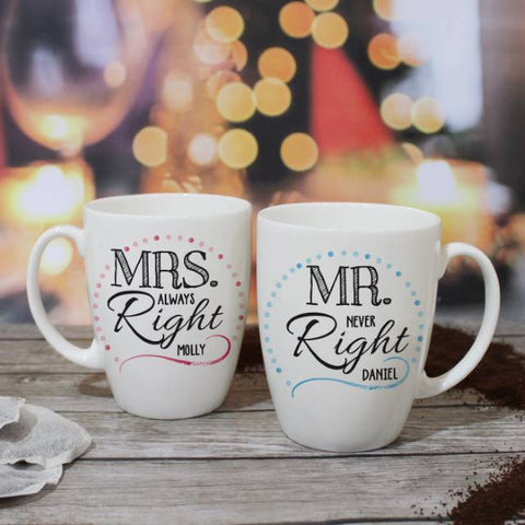 Mr & Mrs Right Mug Set | ShaneToddGifts.co.uk