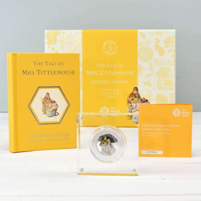 Mrs Tittlemouse Royal Mint Silver Proof 50p Coin & Book Set, Media by Low Cost Gifts