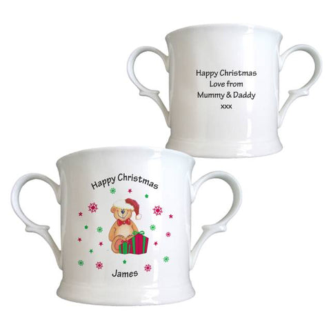 Christmas Teddy & Hat Bone China Loving Cup | ShaneToddGifts.co.uk