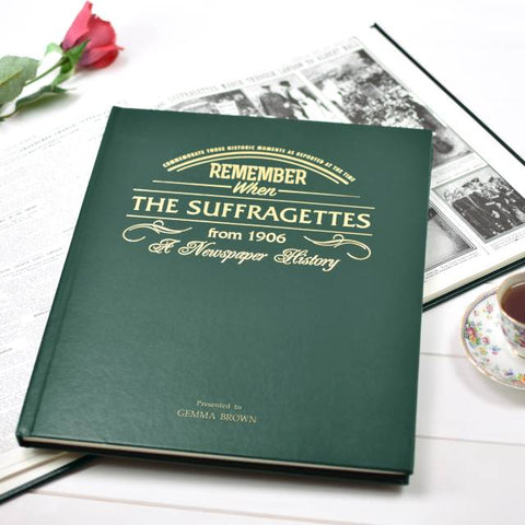 Personalised Suffragette Newspaper Book - Green Leatherette Cover