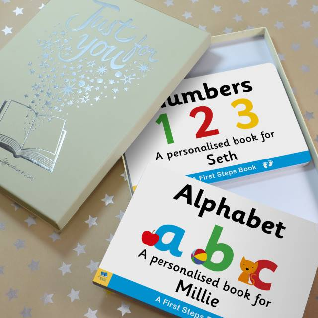 Personalised Dual box-set Alphabet & Numbers Board Books, Scrapbooking & Stamping Kits by Low Cost Gifts