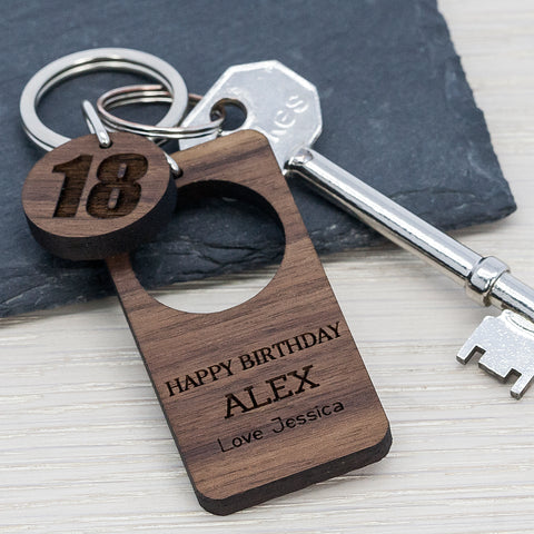 Happy Birthday Walnut Keyring