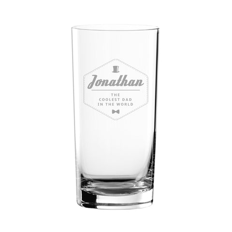 Personalised Hipster Style Coolest Dad Hi Ball Glass