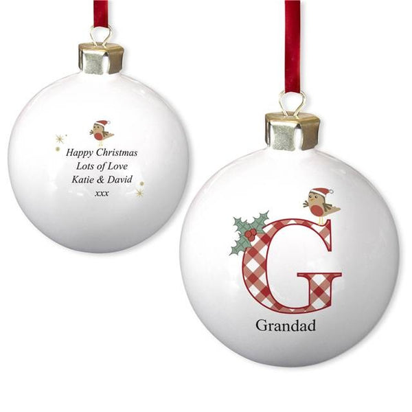 Initial Robin Bone China Bauble