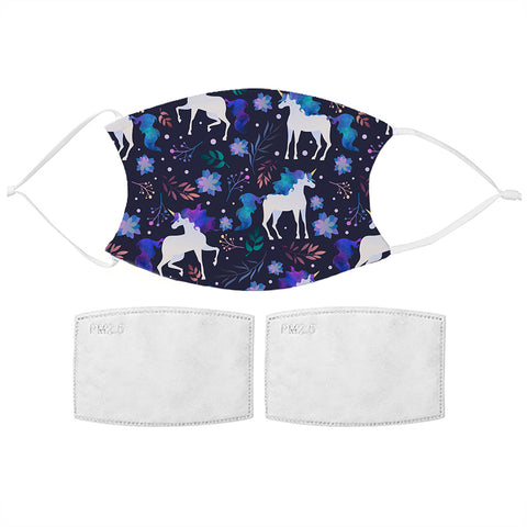Kids Indigo Unicorn Face Mask