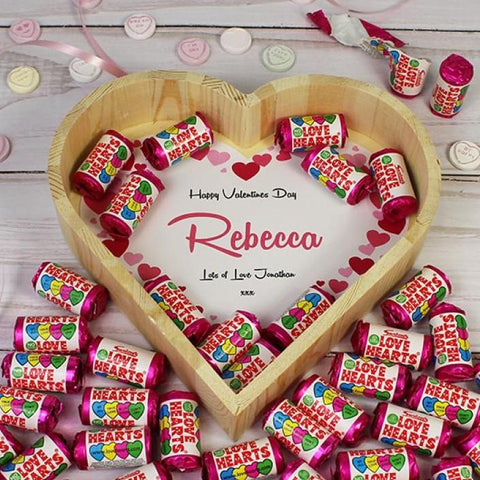 Personalised Love Hearts Tray - Large