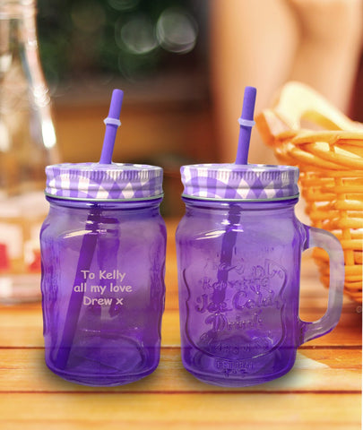 Personalised Purple Coloured Mason Jar with Straw