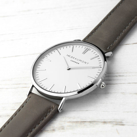 Mr Beaumont's Men's Modern-Vintage Personalised Leather Watch In Ash