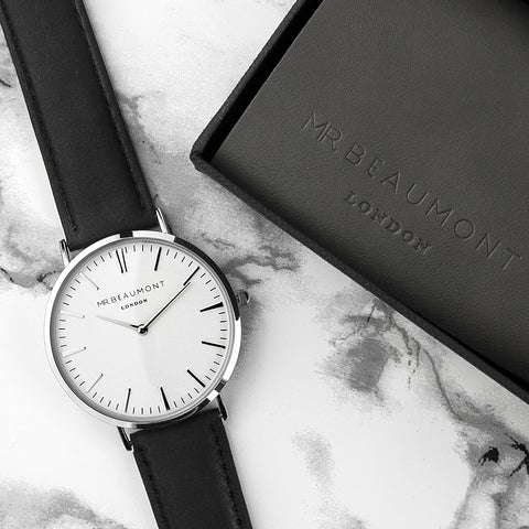 Mr Beaumont's Men's Modern-Vintage Personalised Leather Watch In Black