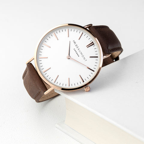 Mr Beaumont's Men's Modern-Vintage Personalised Leather Watch In Brown