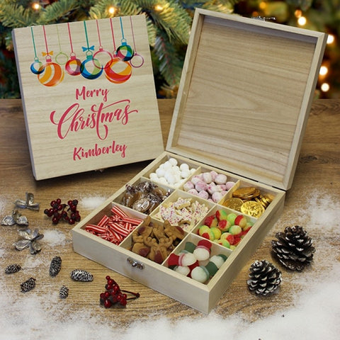 Personalised Merry Christmas - Wooden Sweet Box