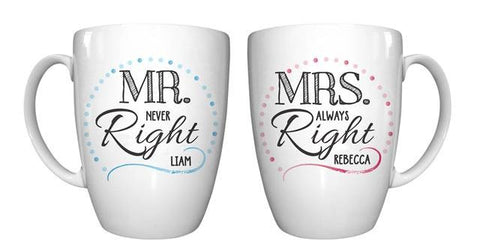 Mr & Mrs Right Mug Set - Shane Todd Gifts UK