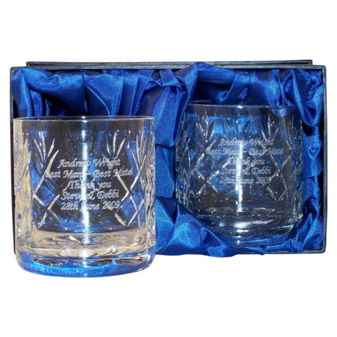 Personalised Crystal Whisky Tumblers In Presentation Box