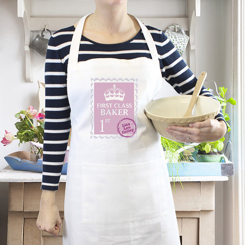 Personalised Pink 1st Class Apron - Shane Todd Gifts UK