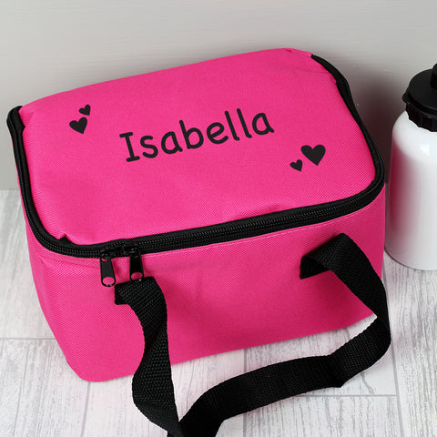 Buy Personalised Black Hearts Pink Lunch Bag