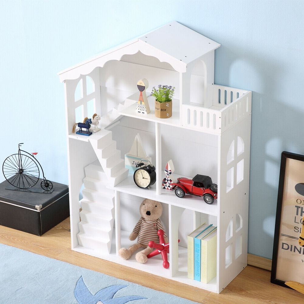 White Dollhouse Bookshelf with Balcony, Furniture by Low Cost Gifts
