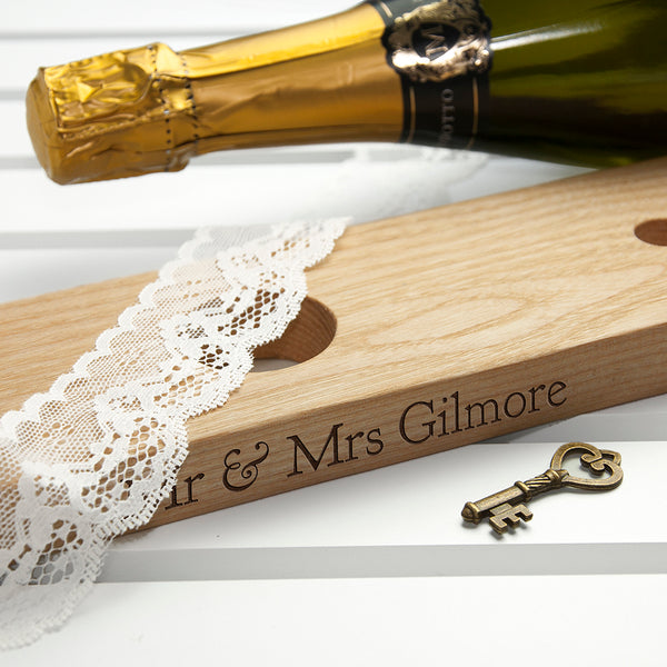 Personalised Welsh Ash Wooden Champagne Holder