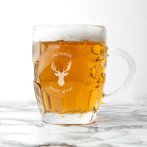 Personalised Stag Dimpled Beer Glas - Shane Todd Gifts UK