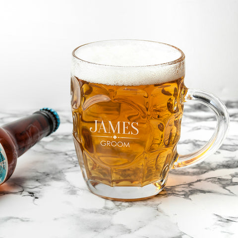 Personalised Wedding Dimpled Beer Glass - Shane Todd Gifts UK