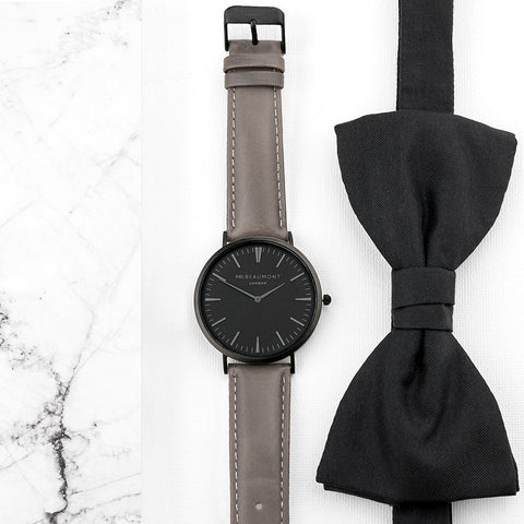Men's Modern-Vintage Personalised Watch With Black Face in Ash by Mr Beaumont