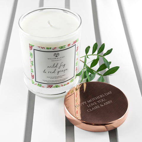 Willow & Light Personalised Wild Fig & Red Grape Candle With Copper Lid