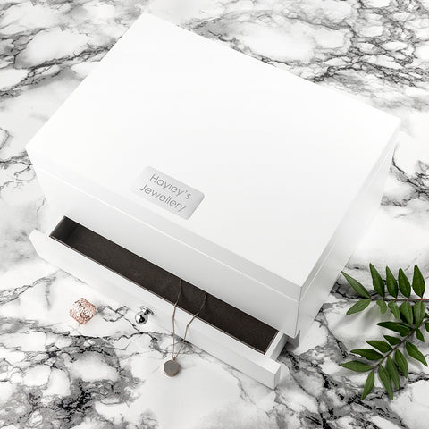 Personalised Luxe Powder White Jewellery Box