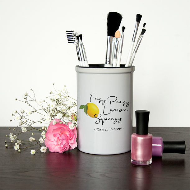 Ceramic Holders Easy Peasy Lemon Squeezy Brush Holder, Personal Care by Low Cost Gifts