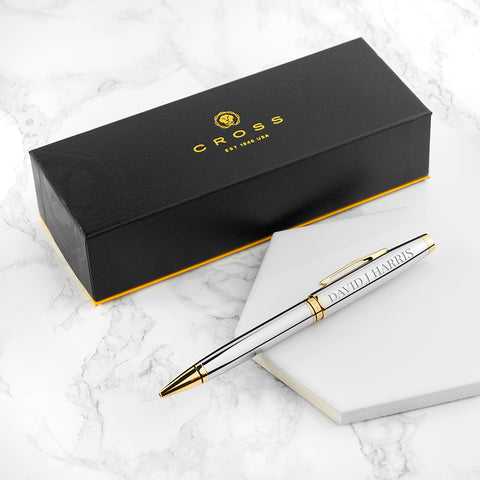 Personalised Cross Coventry Pen - Chrome Gold