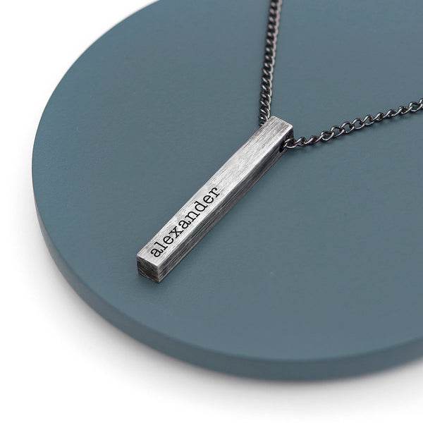 Personalised Men's Solid Bar Necklace - Brushed Gunmetal