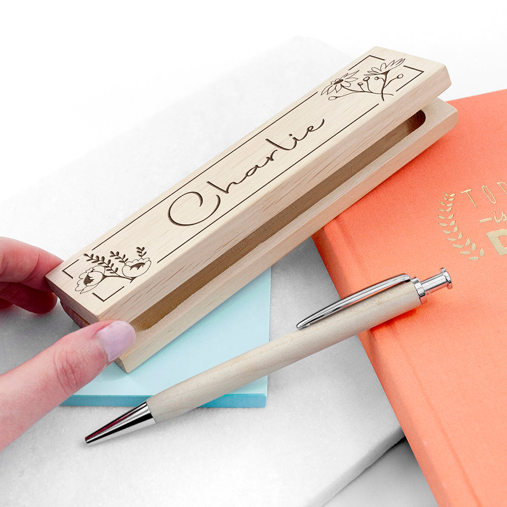 Personalised Wooden Floral Pen Set, Office Supplies by Low Cost Gifts