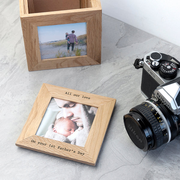 Personalised Oak Photo Cube Keepsake Box - Shane Todd Gifts UK