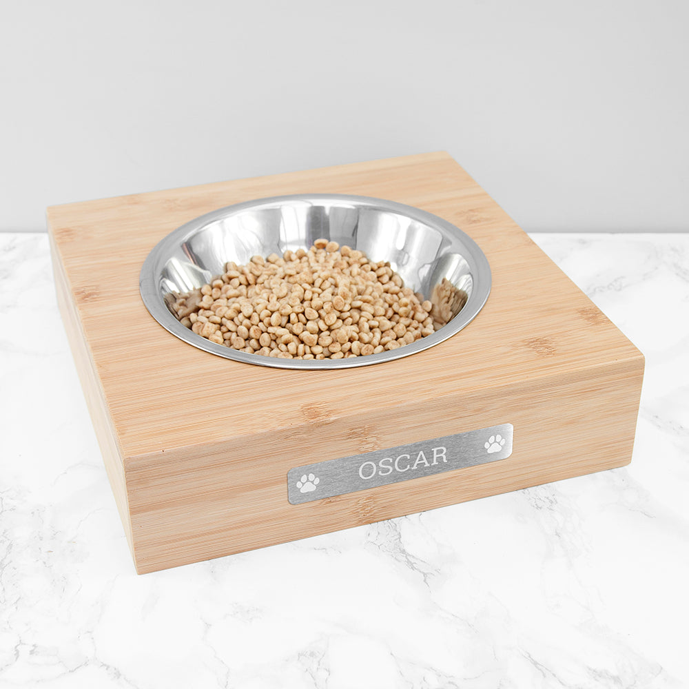 Personalised Bamboo Dog Bowl with Metal Tag, Pet Bowls, Feeders & Waterers by Low Cost Gifts