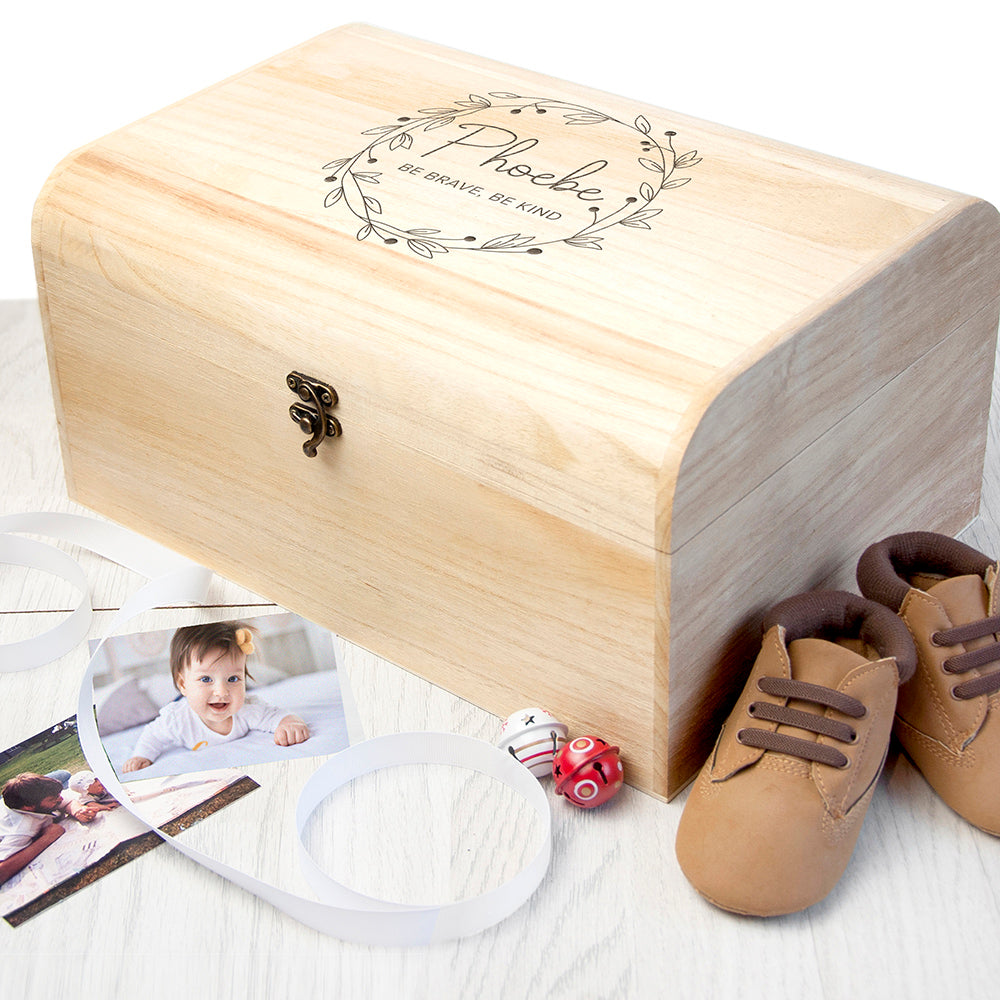 Personalised Botanical Wreath Keepsake Chest, Gift Giving by Gifts24-7