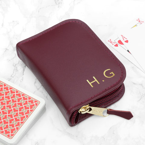 Personalised Burgundy Leather Playing Card Case